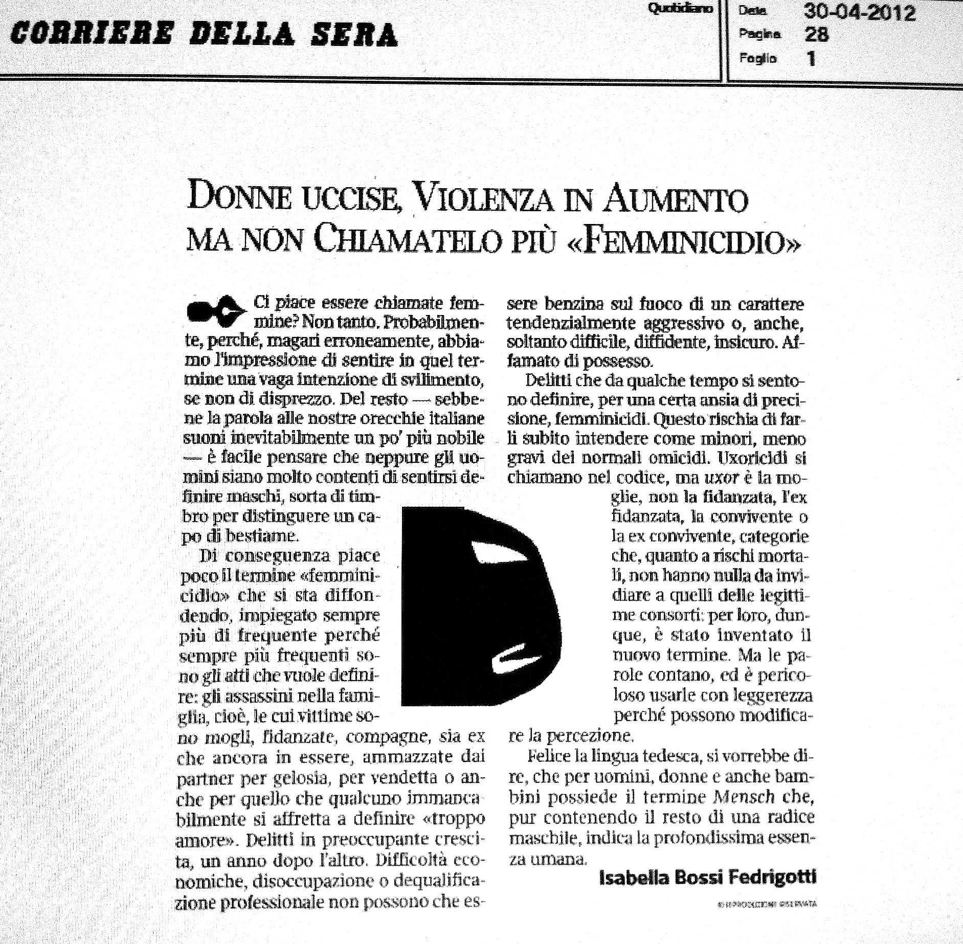 Fedrigotti ecco perch si chiamano femmicidi - Diva e donne giornale ...