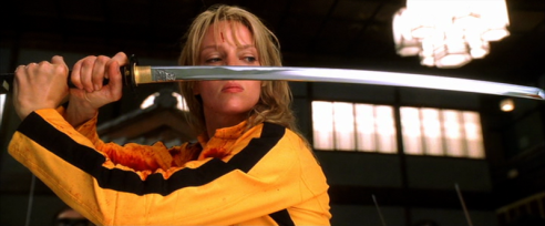 "Beatrix Kiddo durante il combattimento contro gli 88 folli (Uma Thurman in ""Kill Bill"" vol. 1)"