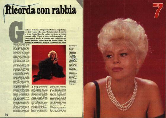 """Intervista di """"Oggi"""" a Franca Rame, sullo stupro da lei subito nel ''73, dopo il brano """"Lo stupro"""" da lei recitato a """"Fantastico"""" (tratto da http://www.archivio.francarame.it)"""