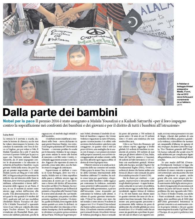 """Articolo dalla rivista """"Azione"""" - Politica e Economia - 20 ottobre 2014 (pag 23)"""