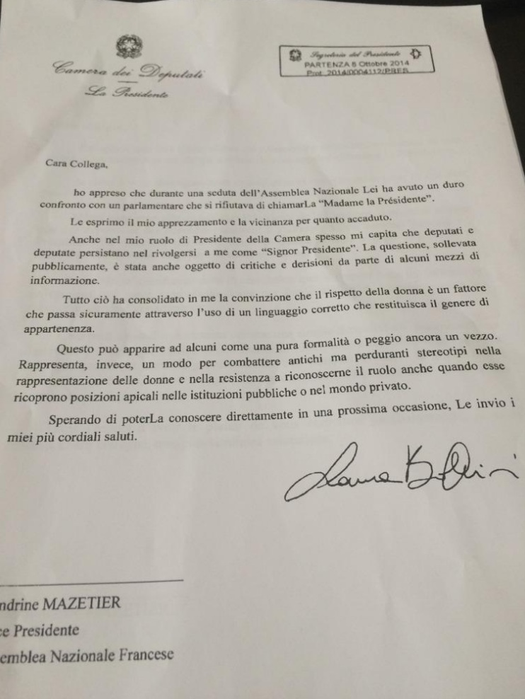 Lettera di solidarietà della presidente della camera Laura Boldrini alla Vice Presidente Assemblea Nazionale Francese, Sandrine Mazetier