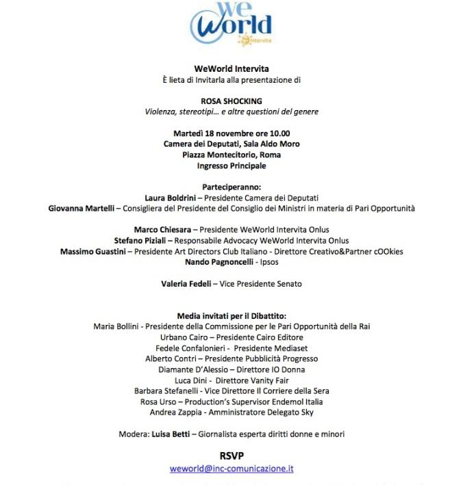 Programma WeWorld per il convegno Rosa Shocking alla Camera il 18 novembre